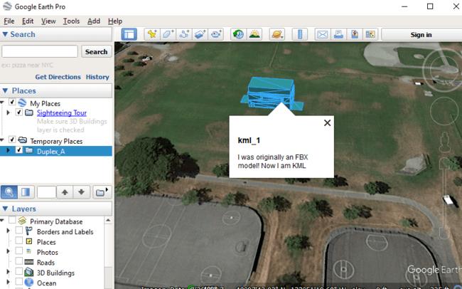 KML model in Google Earth