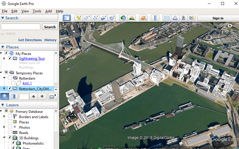 Rotterdam model georeferenced in KML in Google Earth